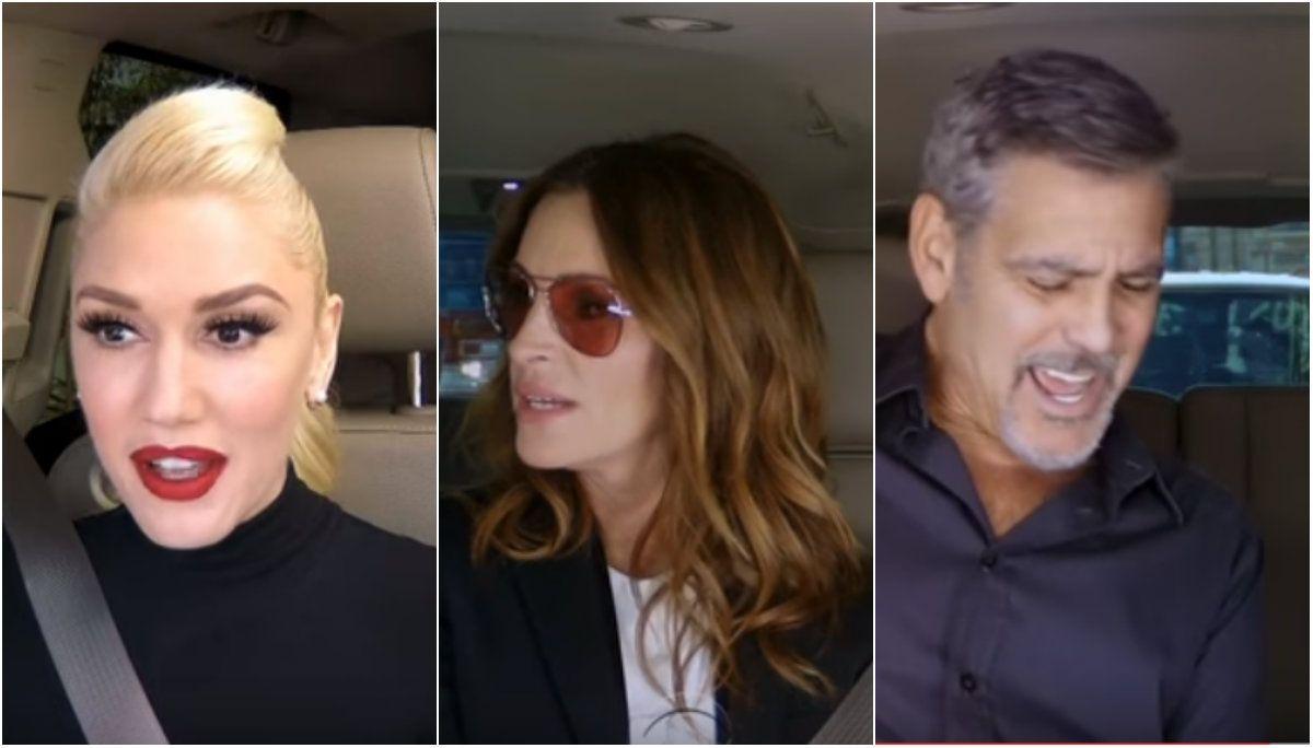 Video: mirá el gracioso karaoke de Gwen Stefani, Julia Roberts y George Clooney