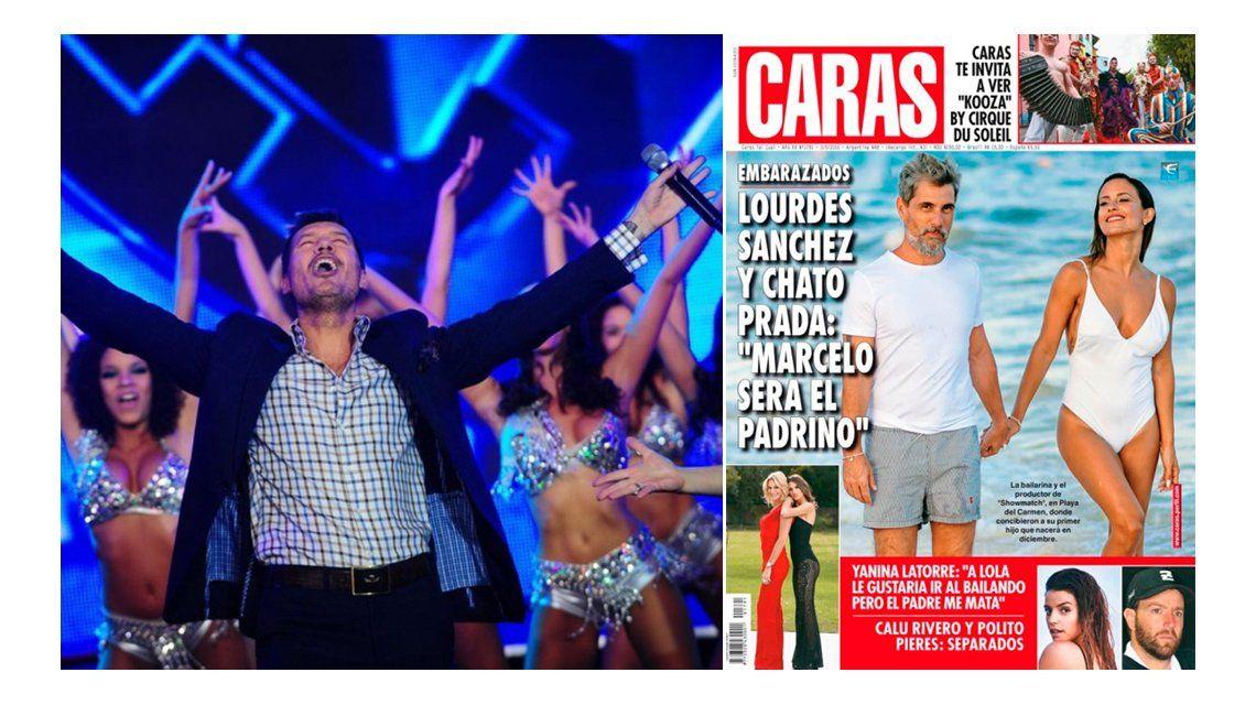 Tinelli se enteró que será padrino del hijo del Chato Prada y Lourdes Sánchez por una revista