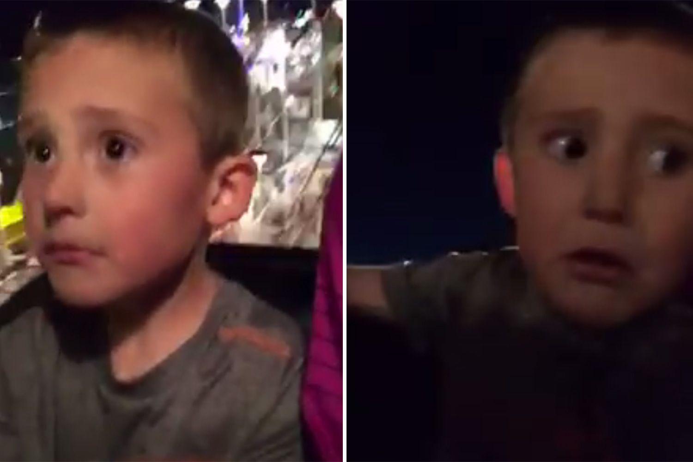 VIDEO: Al hijo se le soltó el cinturón de seguridad y casi se cae de una montaña rusa