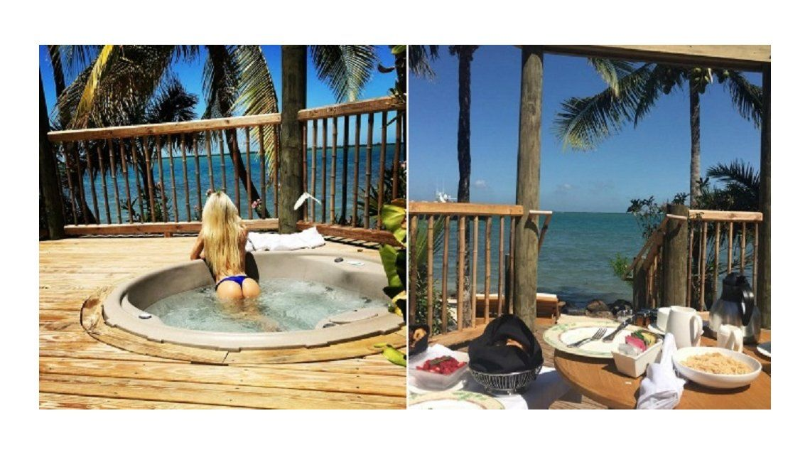 La foto con doble mensaje de Luli Salazar mostrando la cola: Despidiendo este paisaje divino
