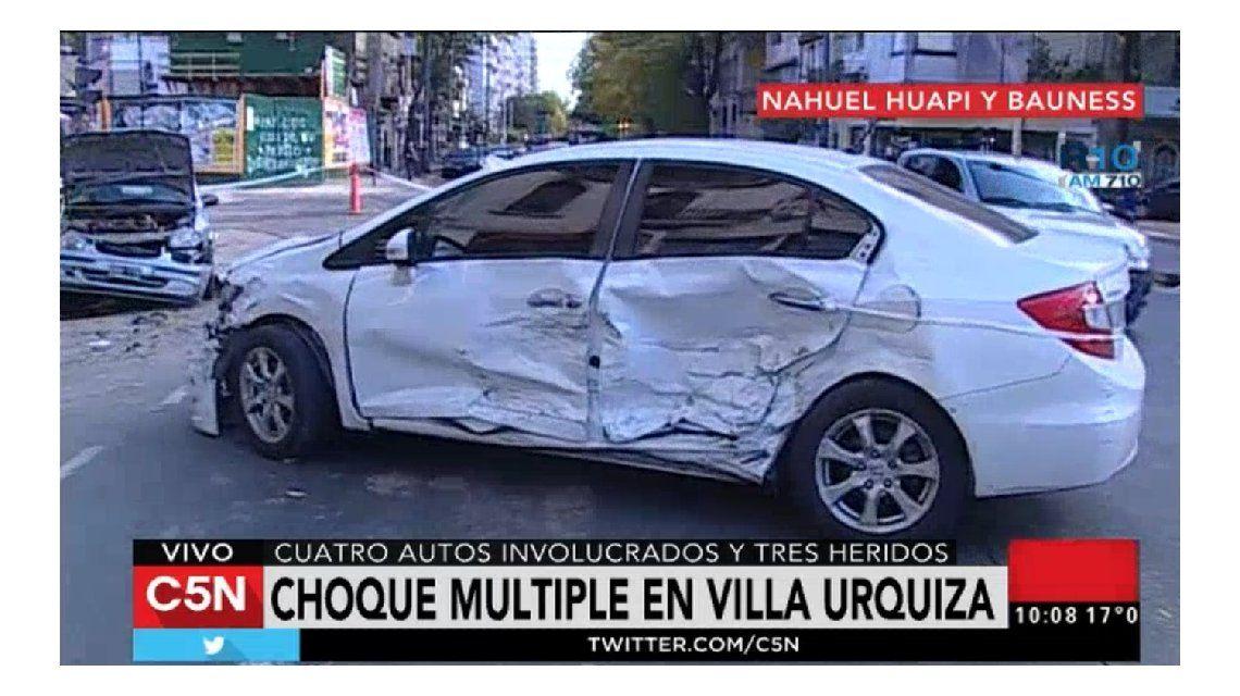 Choque múltiple en Villa Urquiza: hay tres heridos