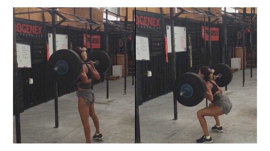 El increíble video de Cinthia Fernández levantando una pesa de casi 80 kilos