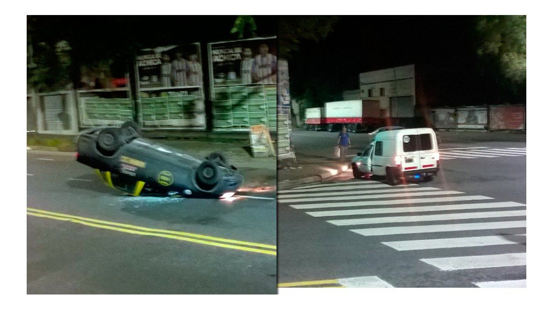 Choque y vuelco en Parque Patricios: un taxista herido