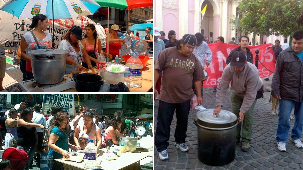 Otra vez los manteros: ahora hacen una olla popular sobre la avenida Avellaneda