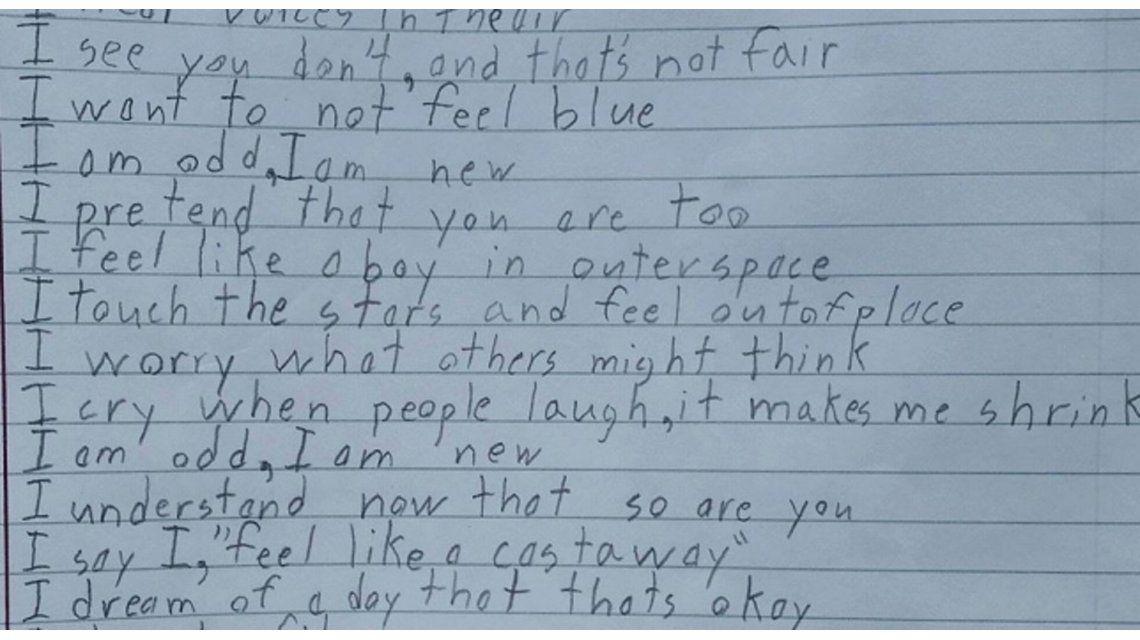 Tiene Asperger y escribió un poema para contar cómo se siente