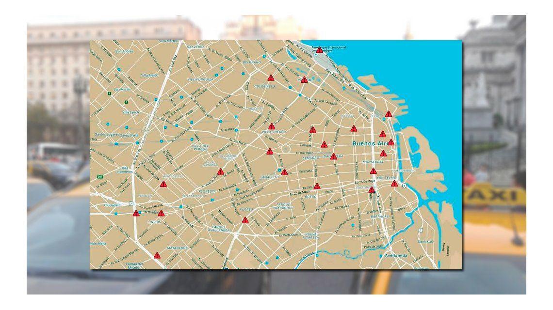 Los taxistas porteños sitian la Ciudad con 25 cortes en contra de Uber