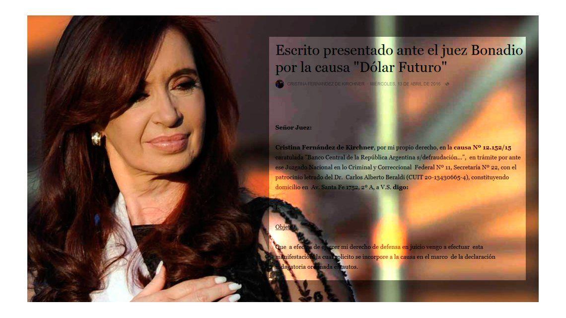 CFK acusó a la Justicia y al Gobierno de plantar la causa penal para meterla presa