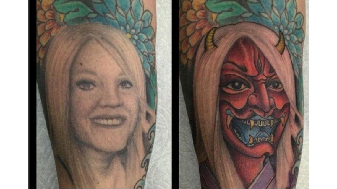 Un hombre divorciado convirtió un tatuaje del rostro de su ex en un demonio