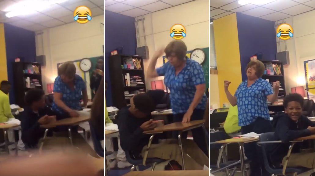VIDEO: Una maestra golpeó a un alumno de color y se burló de él en plena clase