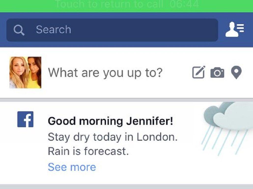 Facebook prueba alertas meteorológicas en su app para móviles