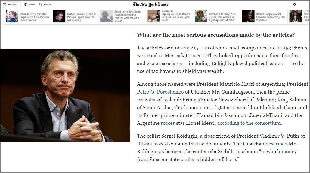 Para The New York Times, el caso de Macri en los #PanamáPapers es uno de los más graves