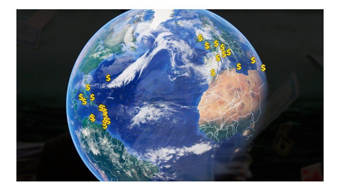 El mapa de los paraísos fiscales en el mundo