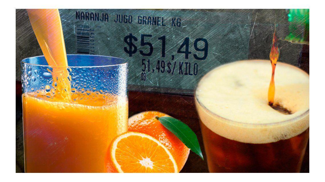 Tarifazo: un litro de jugo de naranja sale 60% más que el de fernet con cola