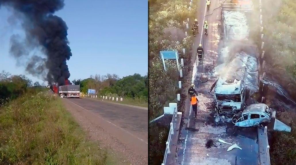 Una pareja argentina murió calcinada en una ruta uruguaya