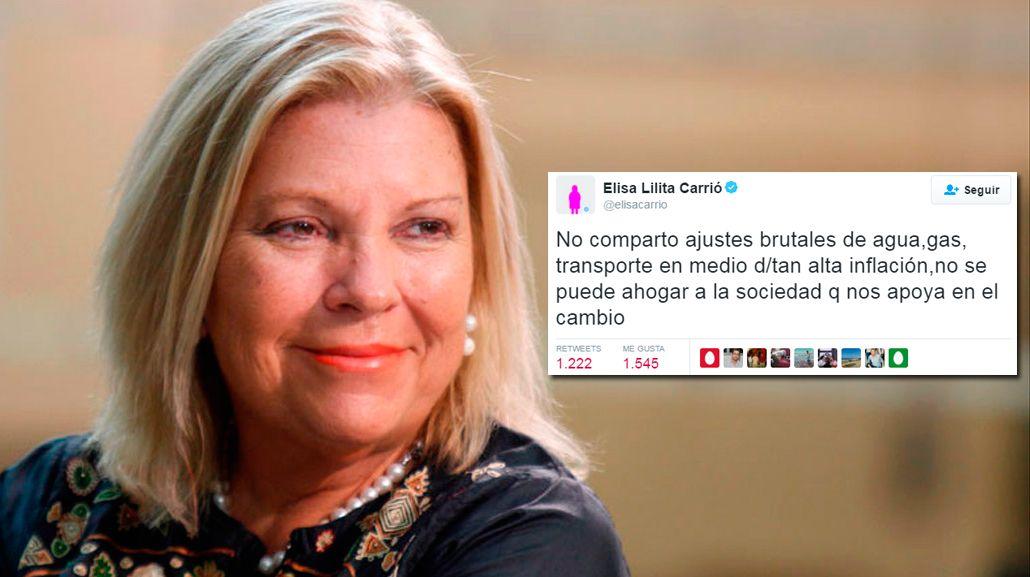 Otra crítica de Carrió a Macri: rechazó la suba de servicios