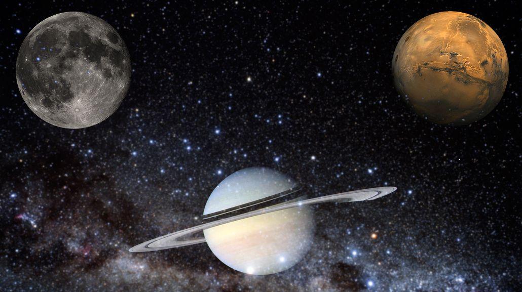 La Luna, Saturno y Marte formarán este lunes una punta de flecha en el cielo