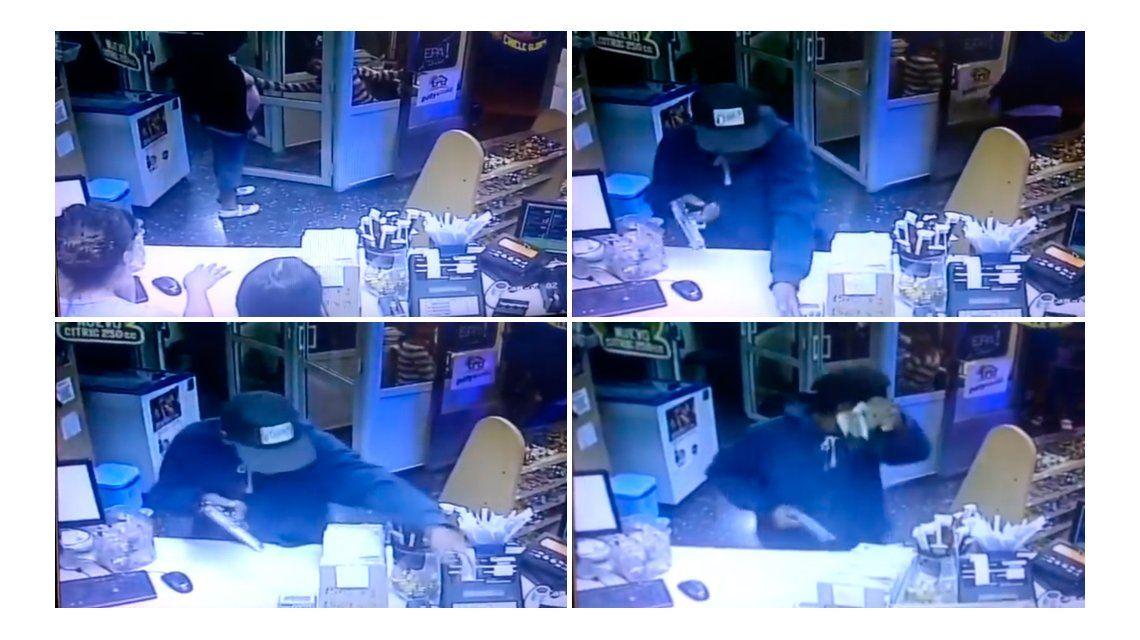 VIDEO: Robó un kiosco y fue registrado por las cámaras de seguridad