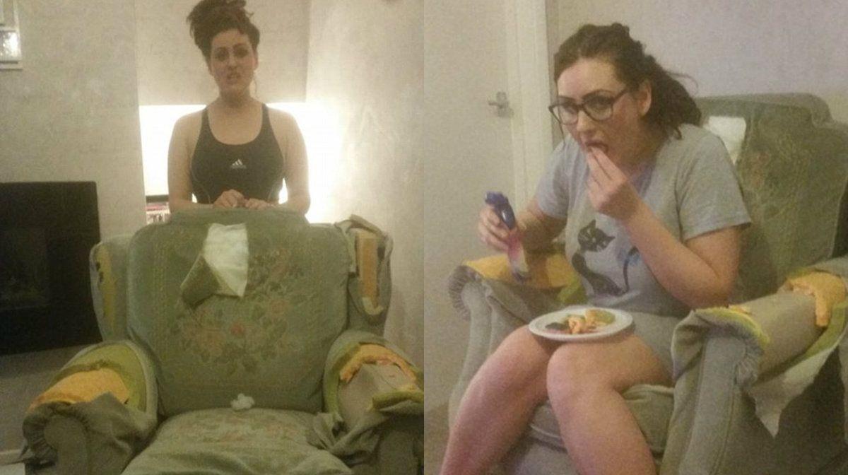 Desesperada, una mujer reveló que no puede parar de comerse su sillón
