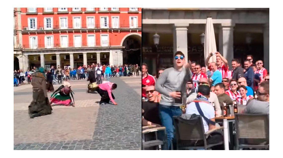 Indignante: hinchas holandeses se burlaron de mendigos en Madrid