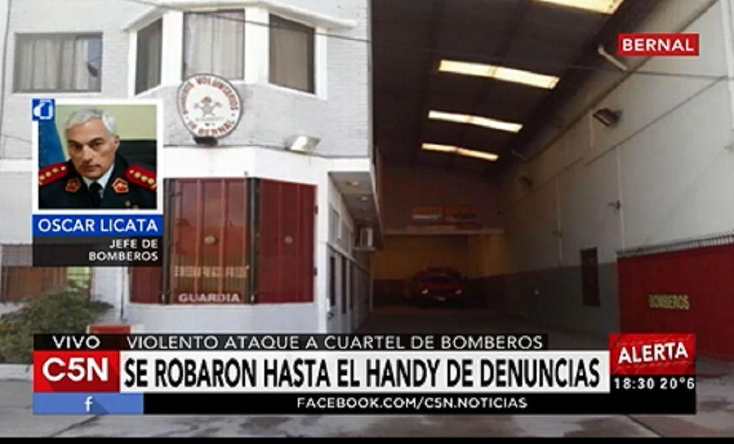 Violento ataque a un cuartel de bomberos en Bernal