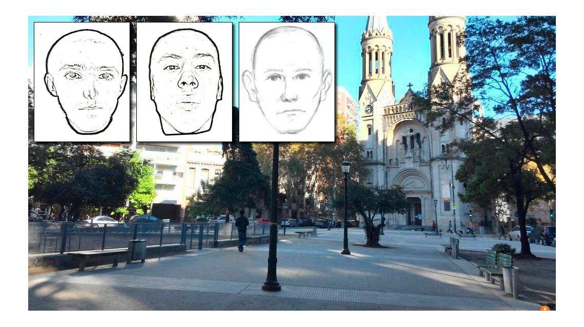 Crimen en una plaza de Palermo: éstos son los identikits del asesino