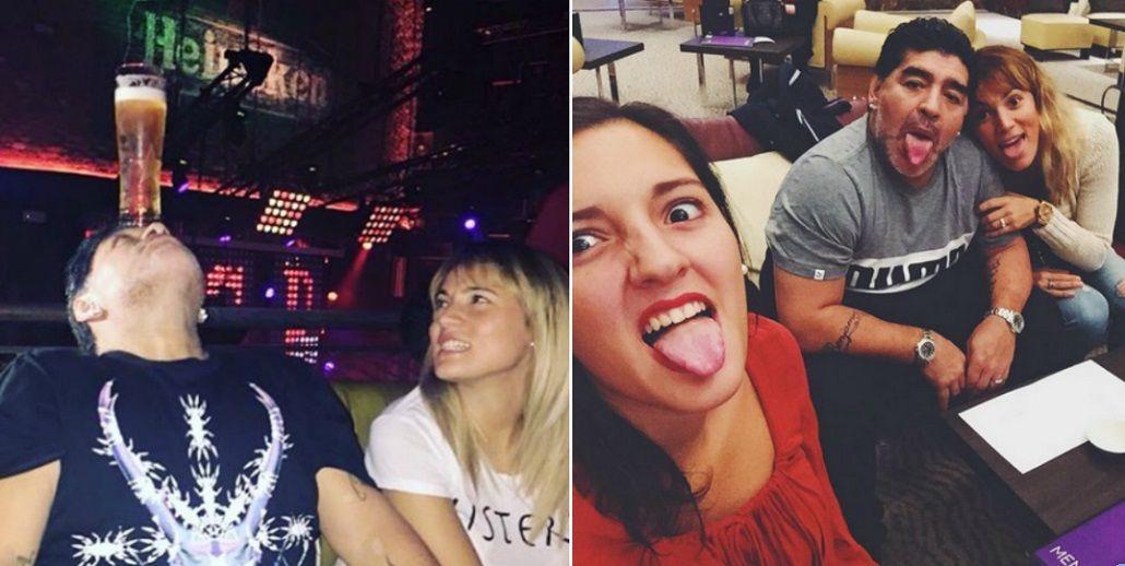 Jana Maradona viajó a Dubai a visitar a Diego: noches de descontrol en un bar