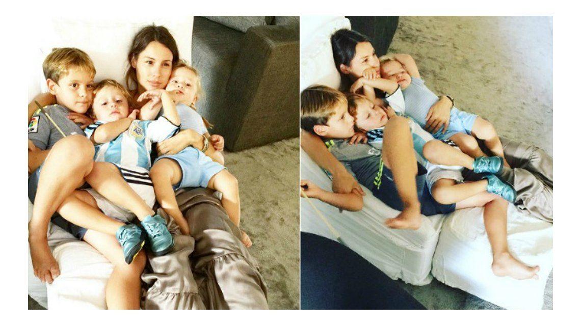 A cara lavada y relajada, el fin de semana de Pampita con sus tres hijos