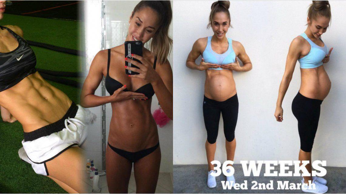 Una modelo de fitness sorprendió con su pancita de nueve meses de embarazo