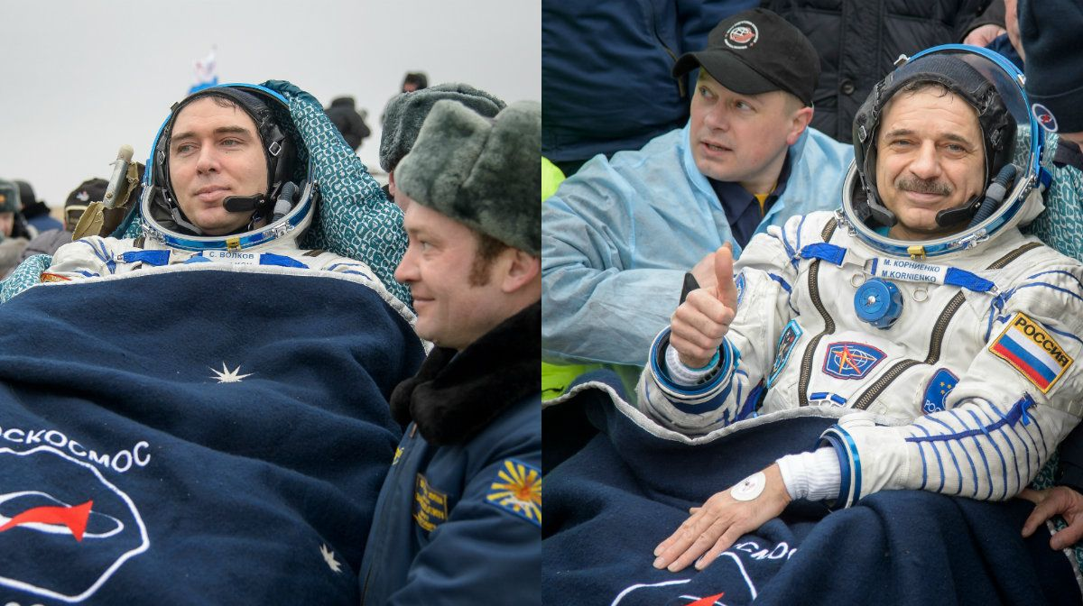 Así regresaron a la Tierra los tres astronautas que pasaron un año en el espacio