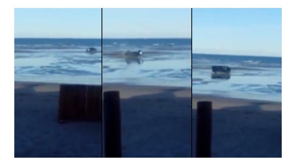 VIDEO: Hacían piruetas con una camioneta y volcaron en una playa
