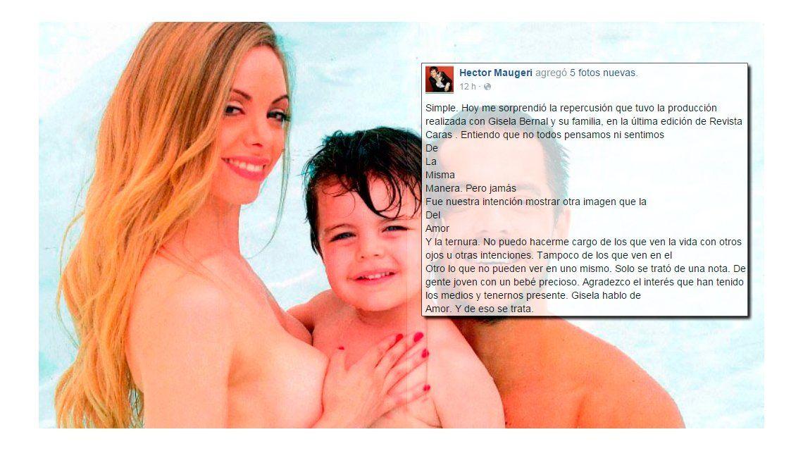 La palabra de la revista Caras por la producción de Gisela Bernal, desnuda con su hijo