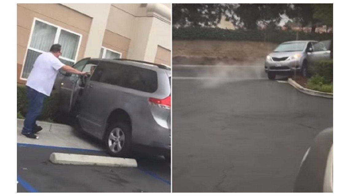 VIDEO: Chocó contra la pared de un hotel, a varios autos y terminó contra un arbusto