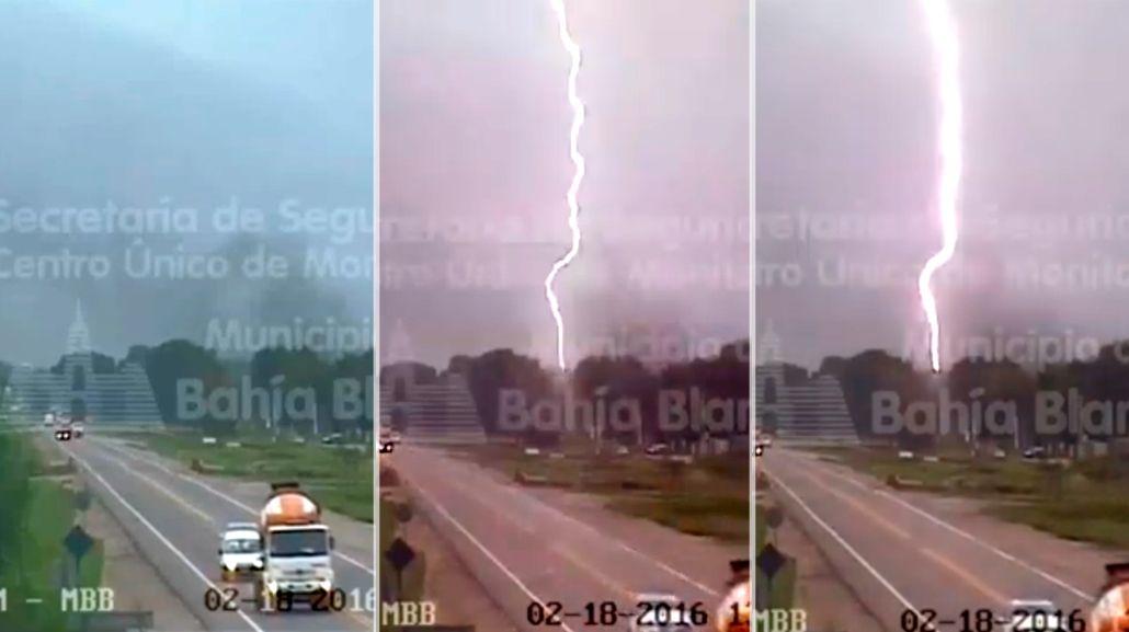 VIDEO: La impresionante caída de un rayo en Bahía Blanca