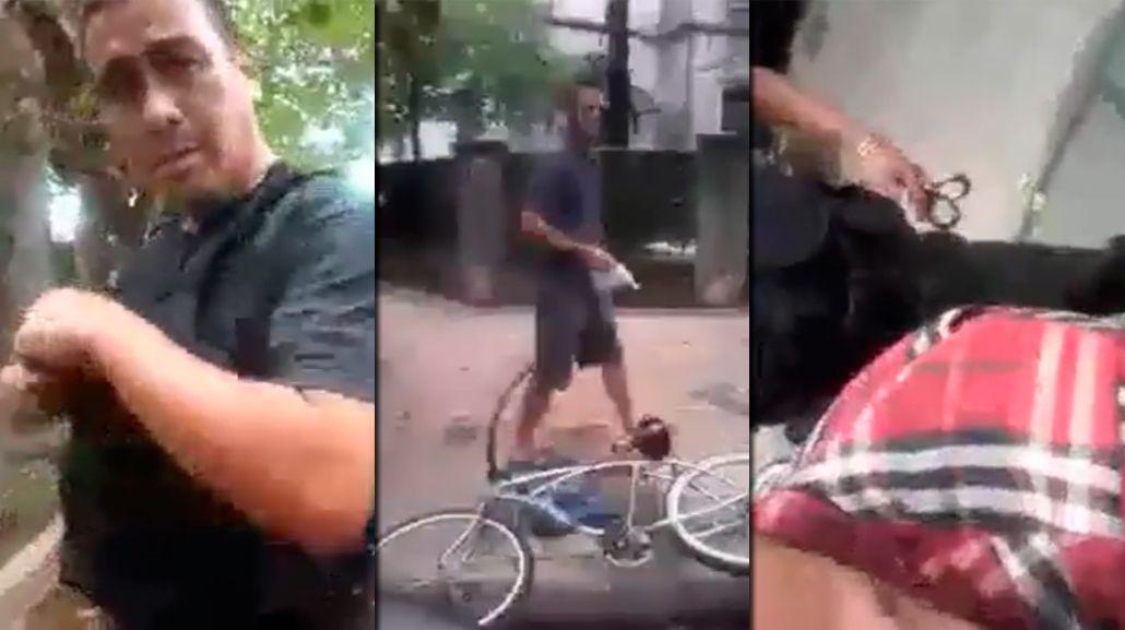 Insólito: un policía detuvo a un hombre por ir en contramano en bicicleta