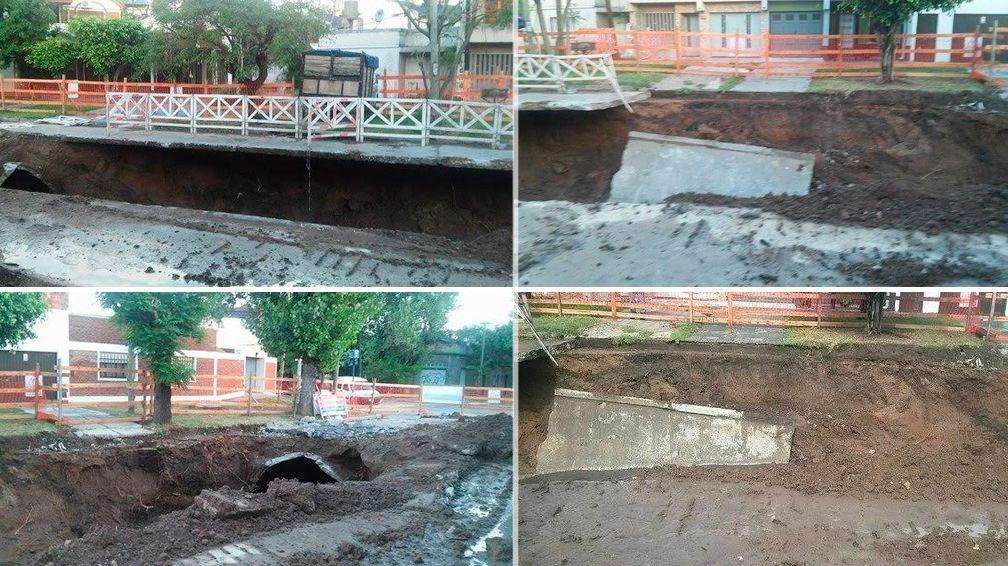 Se hundió una calle en Ramos Mejía y los vecinos reclaman la reparación