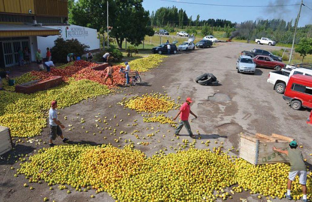 Productores arrojaron miles de kilos de frutas en Río Negro