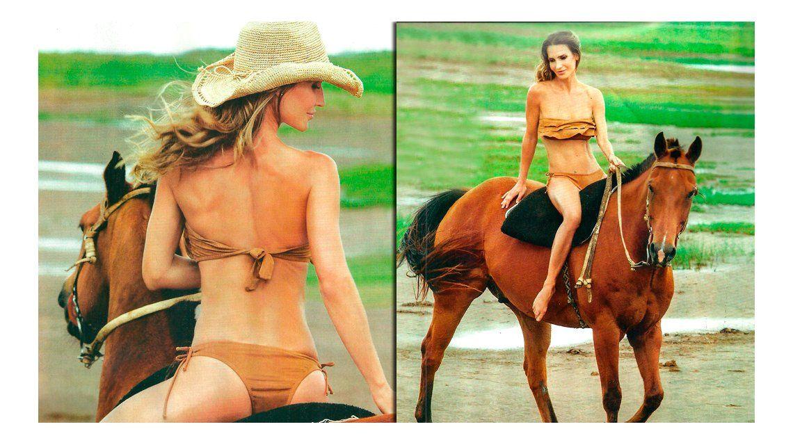 María Vázquez, en ropa interior sobre los caballos de Adolfo Cambiaso