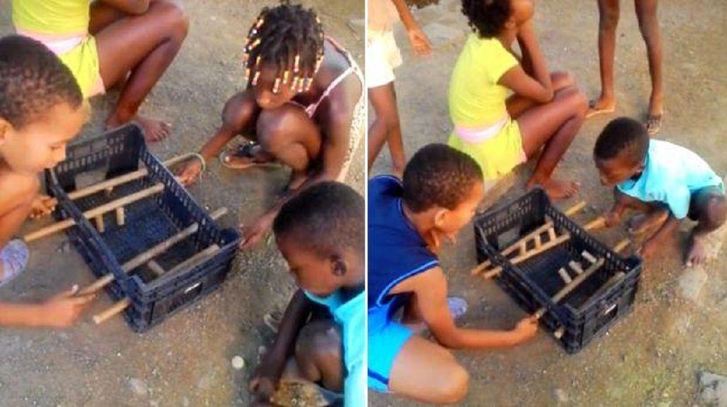 El metegol casero de los nenes en África