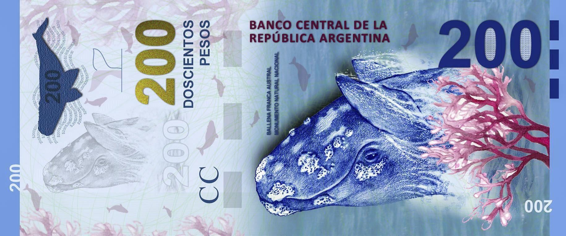 El insólito error en la ballena del nuevo billete de 200 pesos