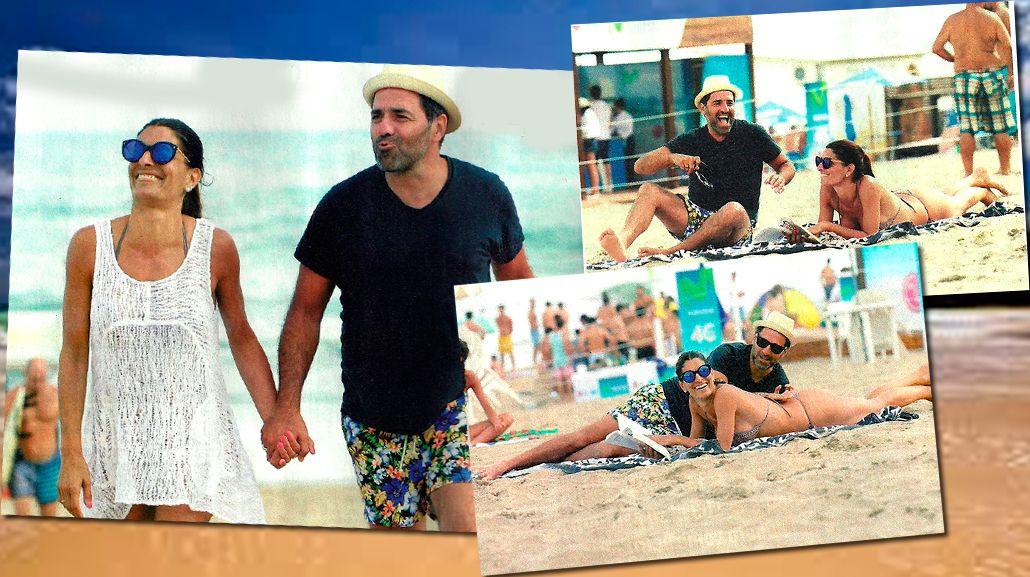 Mariano Iúdica y su mujer, muy divertidos en la playa