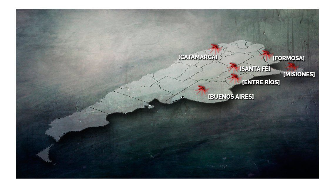 Éste es el mapa de las provincias afectadas con más de 120 casos de dengue