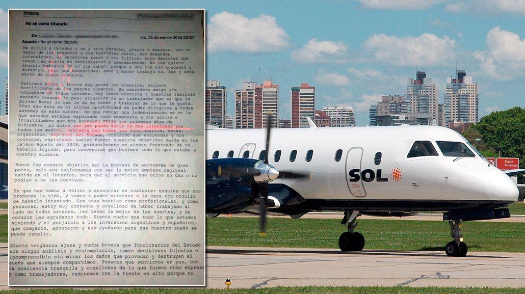 No sé cómo titularlo, el mail de un gerente de Sol a los trabajadores de la empresa aérea
