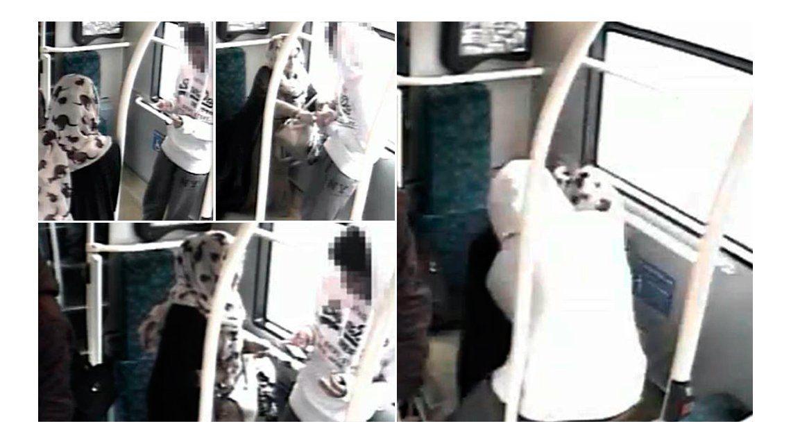 VIDEO: mujer con un velo apuñaló a un joven en un colectivo de Londres