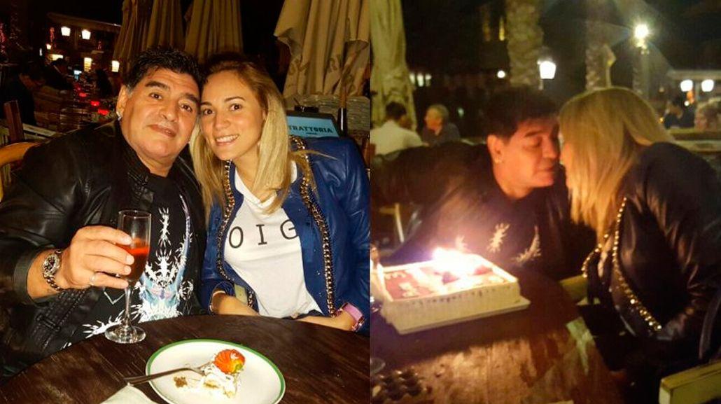 Con una excéntrica cena, Diego Maradona y Rocío Oliva celebraron su tercer aniversario