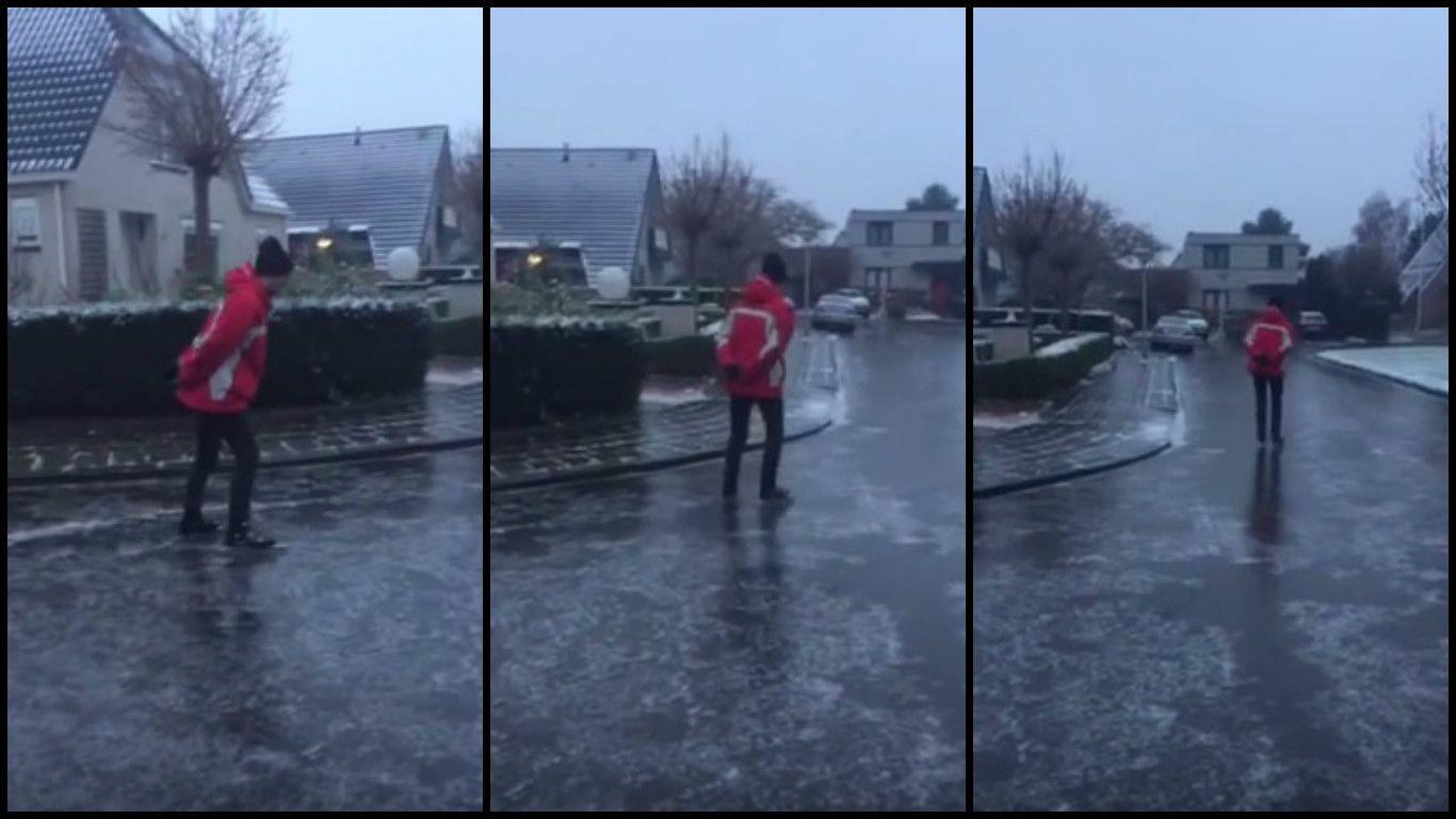 Ventajas de vivir en Noruega: patinan sobre hielo en la calle