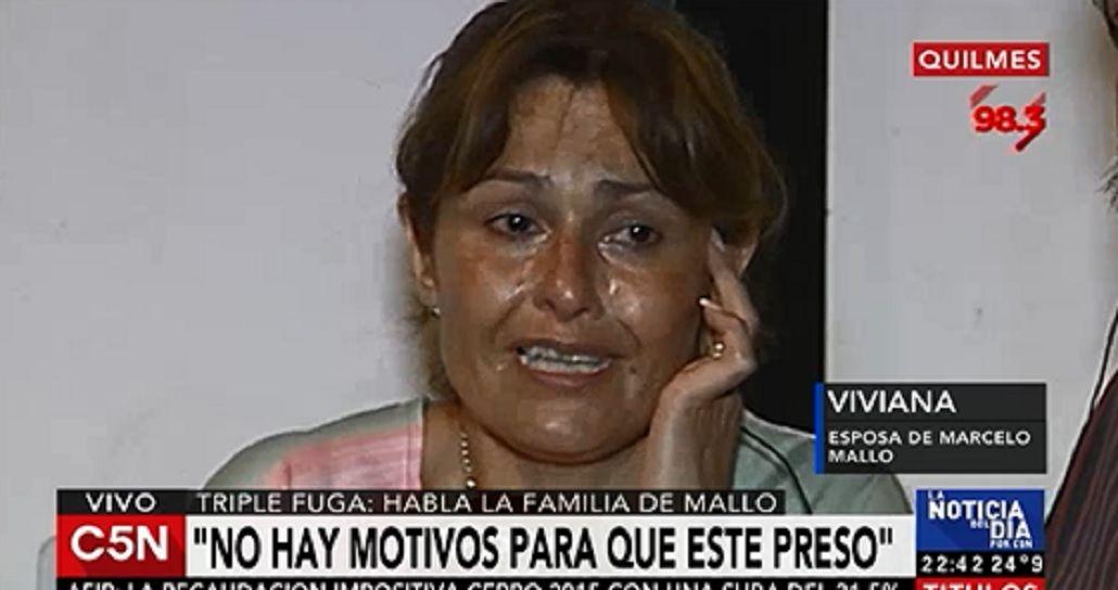Entre lágrimas, la mujer de Mallo aseguró: No hay motivos para que esté preso