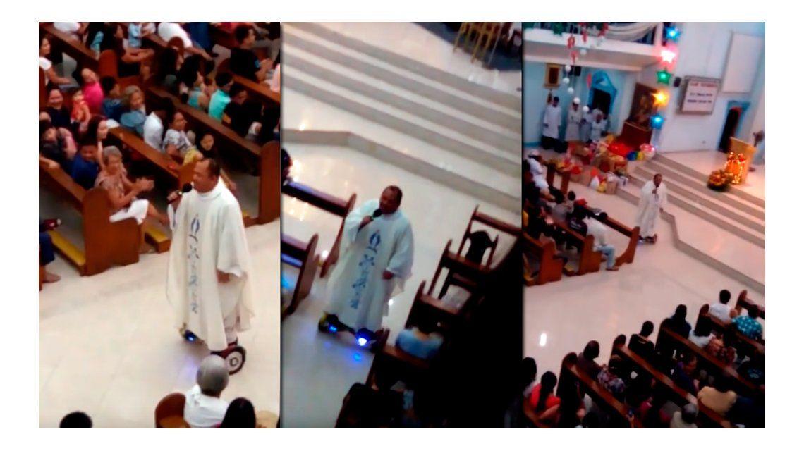 Suspenden a un sacerdote en Filipinas por usar un hoverboard en la misa