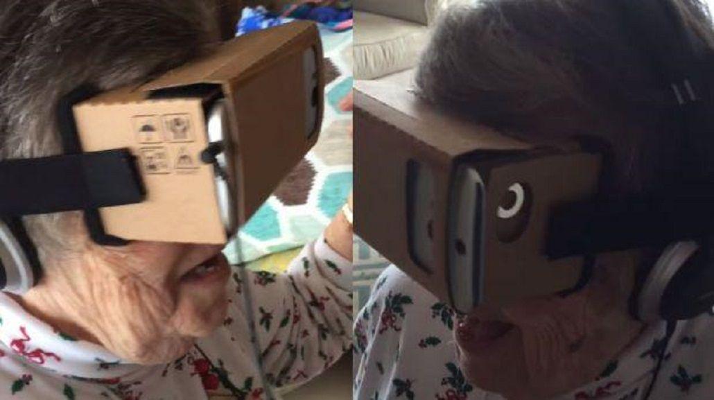 VIDEO: Abuela usa lentes de realidad virtual y enloquece