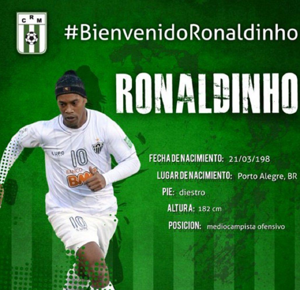 Un club uruguayo anunció la llegada de Ronaldinho, pero todo fue una broma