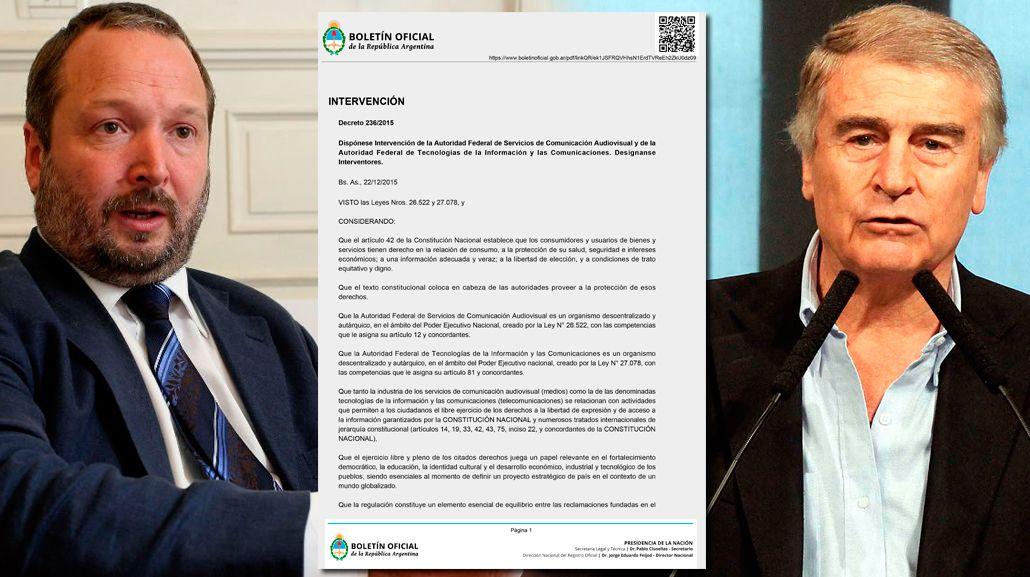 Éste es el decreto de la intervención de la Afsca